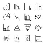 Set of 16 diagram thin line icons. High quality pictograms of graph. Modern outline style icons collection. Graphic, chart, infographic, scheme, etc Stock Photography