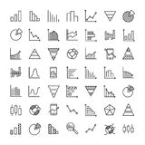 Set of 49 diagram thin line icons. High quality pictograms of graph. Modern outline style icons collection. Graphic, chart, infographic, scheme, etc Stock Illustration