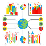 Set  diagrams, elements business, planet. A set of stylized icons infographics. Business elements of the market data.  on white background charts. Vector Stock Image