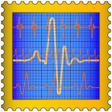 Cardiogram on stamp Stock Photo