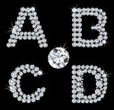 Set of diamond alphabetic letters . Vector Stock Image