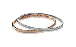 Set diamond bangle bracelets Stock Image