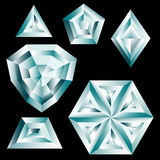 Set of diamond crystals Royalty Free Stock Images