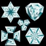 Set of diamond crystals Stock Photography