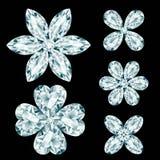 Set of diamond flowers Stock Images