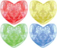 Set of diamond hearts in different colors. Vector illustration Vector Illustration