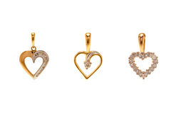 Set of diamond pendants in Heart Shape Stock Image