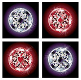 Set diamond poker chips Royalty Free Stock Image