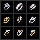 Set of diamond rings Royalty Free Stock Images
