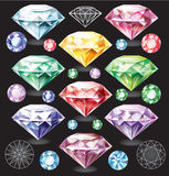Set of Diamonds of different colors Royalty Free Stock Photo