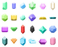 Set of 16 diamonds. gemstone icons set. vector illustration with stones. can be use for jewelry. Set of 16 diamonds. gemstone icons set. vector illustration Royalty Free Stock Photography