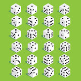 A set of dice. Isometric dice. Twenty-four variants loss dice. Royalty Free Stock Photography