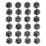 A set of dice. Isometric dice. Twenty-four variants loss dice. Stock Photography