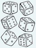 Set dices. Isolated on blue batskground stock illustration