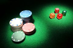 A set of dices and chips Stock Photo