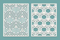 Set of Die cut card. Laser cut ornamental panels with geometric pattern. Suitable for printing, engraving, laser cutting paper, wo. Od, metal, stencil royalty free illustration