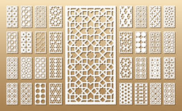 Set of die cut cards. Die cut card. Laser cut 33 vector panels. Cutout silhouette with geometric pattern. A picture suitable for printing, engraving, laser royalty free illustration