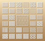 Set of die cut cards. Die cut card. Laser cut 33 vector panels. Cutout silhouette with geometric pattern. A picture suitable for printing, engraving, laser vector illustration
