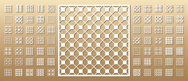 Set of die cut cards. Die cut card. Laser cut 70 vector panels. Cutout silhouette with geometric pattern. A picture suitable for printing, engraving, laser vector illustration