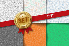 Set of diet backgrounds with doodle icons in Royalty Free Stock Photo