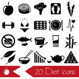 Set of diet and healthy life style theme black icons Royalty Free Stock Photography
