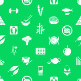 Set of diet and healthy life style theme icons seamless green pattern eps10. Set of diet and healthy life style theme icons seamless green pattern Stock Photo
