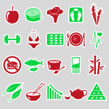 Set of diet and healthy life style theme stickers Royalty Free Stock Photo