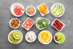Set of diet products in saucers stock image