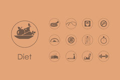 Set of diet simple icons Royalty Free Stock Image