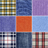 Set of diferent fabric texture Royalty Free Stock Photography