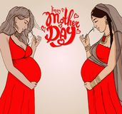 Set diferent pregnant woman in  prepared for maternity. Royalty Free Stock Images