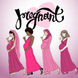 Set diferent pregnant woman in  prepared for maternity. Stock Photos