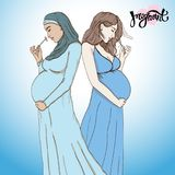 Set diferent pregnant woman in  prepared for maternity. Royalty Free Stock Image