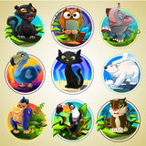 Set of differend cartoon animals. Funny cartoon animals in bright colors Stock Photography
