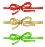 Set of differenet ribbons with bow. Set of different ribbons with bow in red, gold or yellow and green color on white background Stock Photos