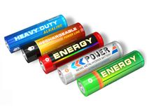 Set of different AA batteries Royalty Free Stock Image