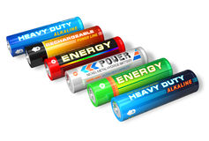 Set of different AA batteries Stock Images