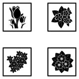 Set Of Different Abstract Flower Illustrations. Vector Set Of Different Abstract Flower Illustrations Stock Images