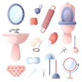 Set of different accessories in the bathroom that people use in everyday life, toothbrushes, toothpaste, hair dryer, hairbrush, royalty free illustration