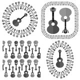 Set of Different Acoustic Guitars Silhouettes Stock Photography