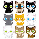 Set Of Different Adorable Cartoon Cats Isolated Royalty Free Stock Photography