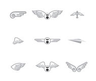 Set of different airplane logos Royalty Free Stock Photo