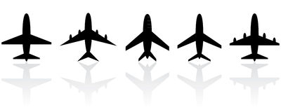Set of different airplanes. Set of different airplane symbols Royalty Free Stock Photos