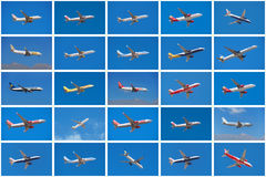 Set of different airplanes, from different airlines Royalty Free Stock Images