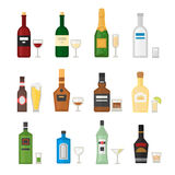 Set of different alcohol drink bottle and glasses vector illustration. Stock Photos