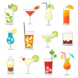 Set of different alcohol drink bottle and glasses vector illustration. Stock Photo
