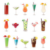 Set of different alcohol drink bottle and glasses vector illustration. Royalty Free Stock Image