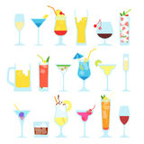 Set of different alcoholic cocktails Stock Photos