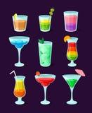 Set of different alcoholic cocktails, summer drinks vector Illustrations. On a dark blue background vector illustration