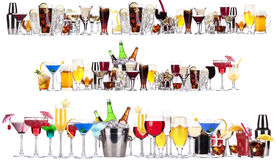 Set of different alcoholic drinks and cocktails. Beer,martini,soda,champagne,whiskey,wine,cola,cocktail stock image